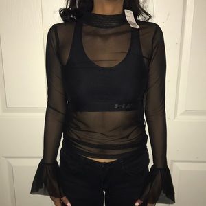 Sheer black long sleeved